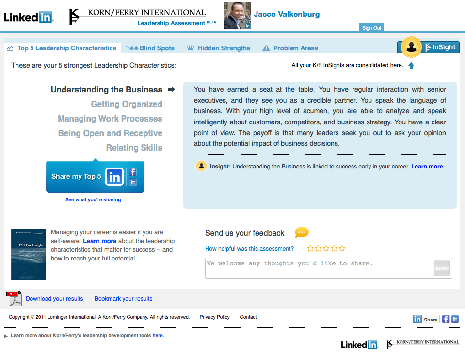 Korn/Ferry's leadership assessment tool (on LinkedIn)