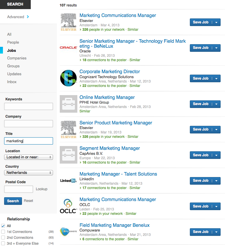 search linkedin jobs by title