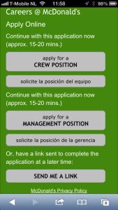 Mobile job application McDonalds