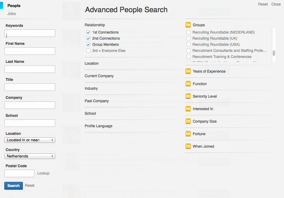 New LinkedIn Advanced People Search