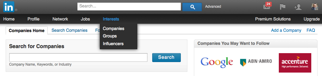 New LinkedIn Navigation bar