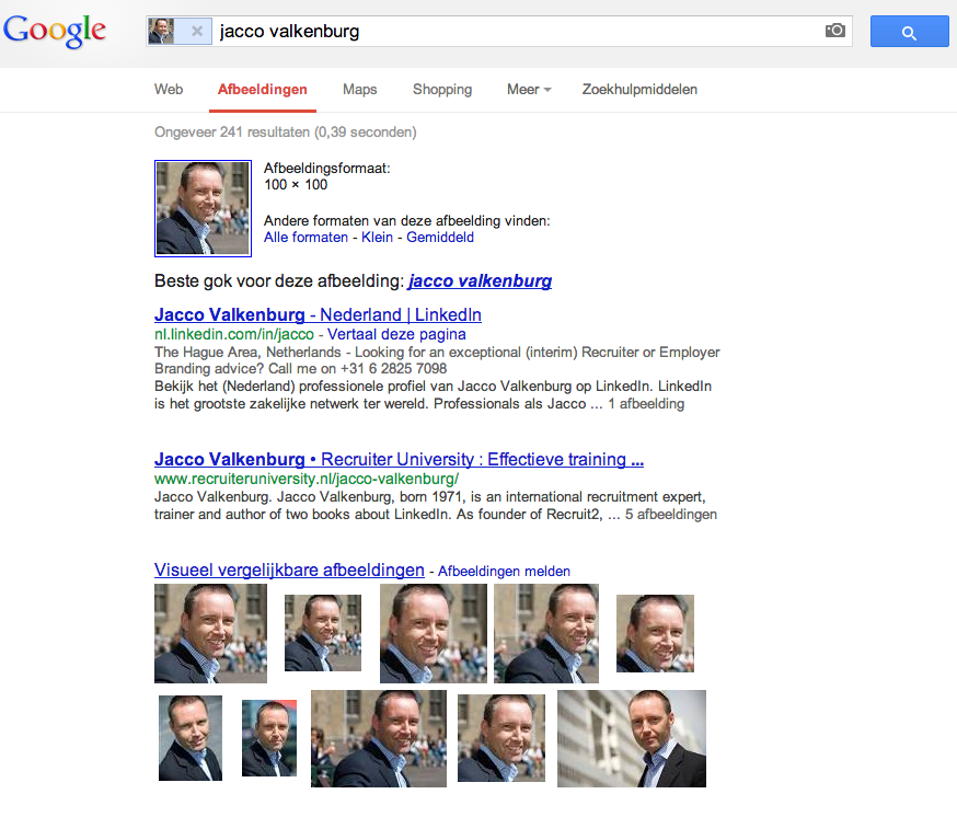 Search results with Google images