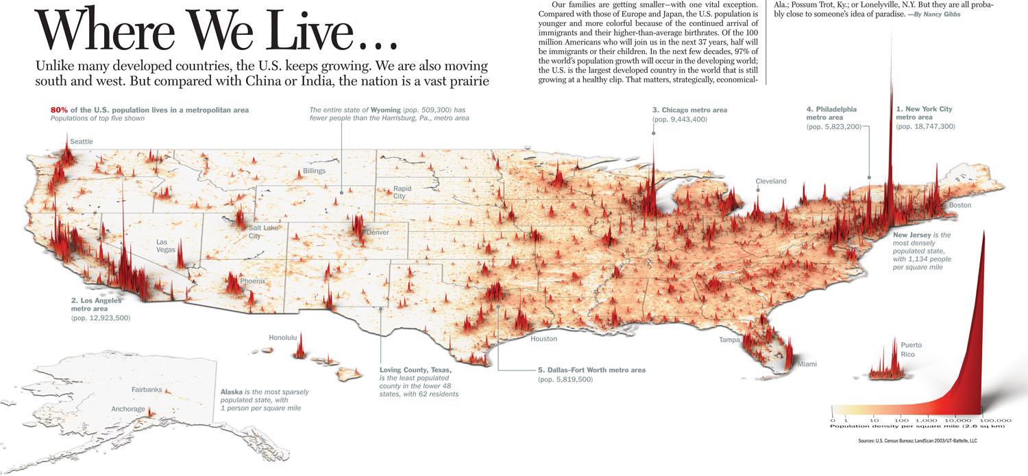 Did you know that 80% of the U.S. population lives in a metropolitan area? The following beautiful infographic shows the population density per square mile: Click on the picture to enlarge it.